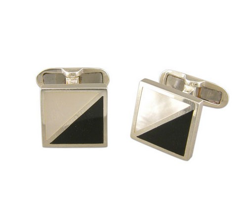 mother of pearl and onyx silver cufflinks