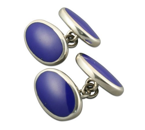 silver and lapis lazuli oval shaped cufflinks
