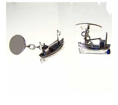silver fishing boat cufflinks
