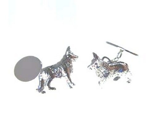 hallmarked silver german shephard dog cufflinks