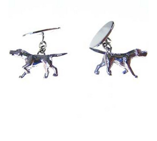 hallmarked silver gun dog cufflinks