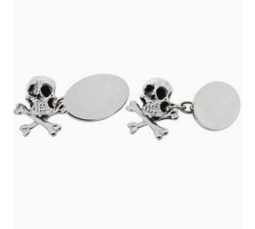 silver skull and crossbones cufflinks