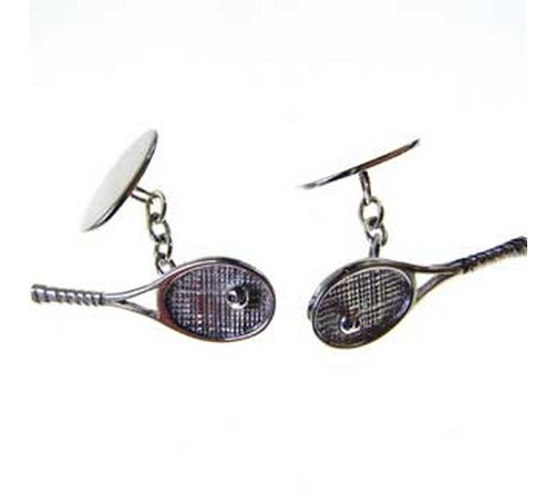 hallmarked silver tennis raquet cufflinks