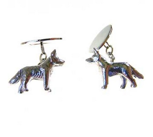 hallmarked silver alsation dog cufflinks