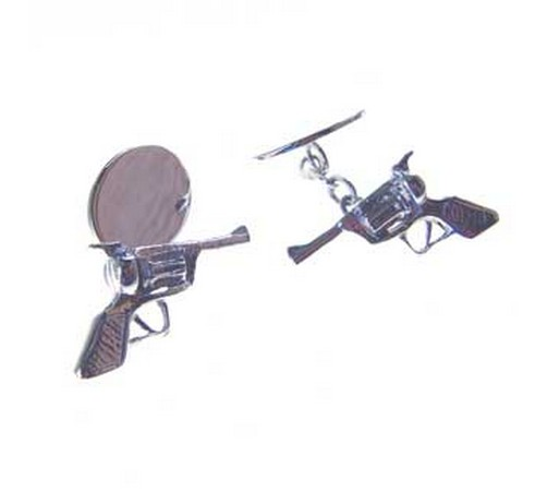 hallmarked silver six shooter gun cufflinks