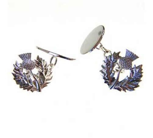 hallmarked silver scottish thistle cufflinks