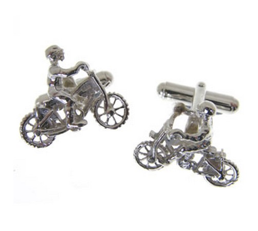 hallmarked silver dirt bike cufflinks