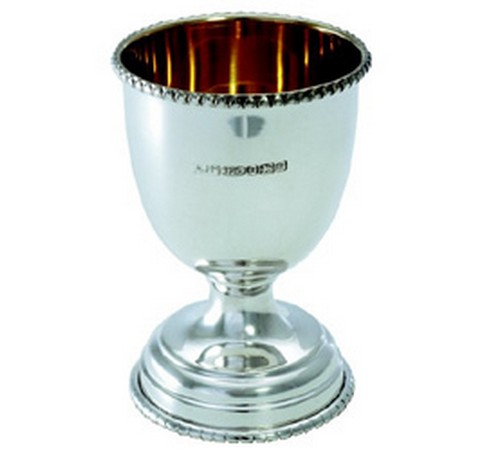 solid silver egg cup with beaded pattern