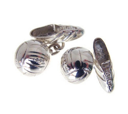 solid silver football and boot cufflinks