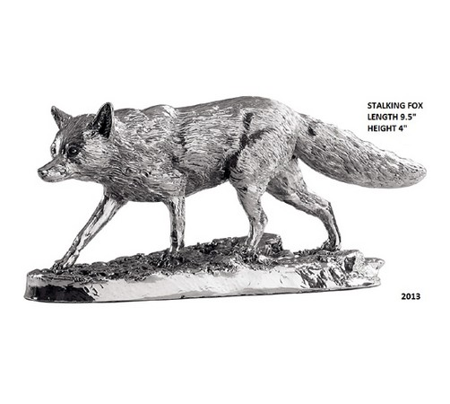 hallmarked silver stalking fox model
