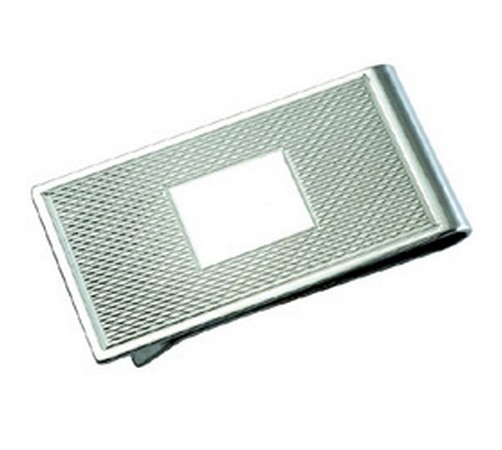 engine turned silver money clip hallmarked