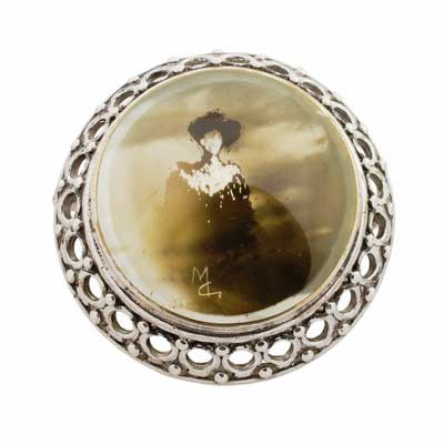 sterling hallmarked silver candle smoked brooch
