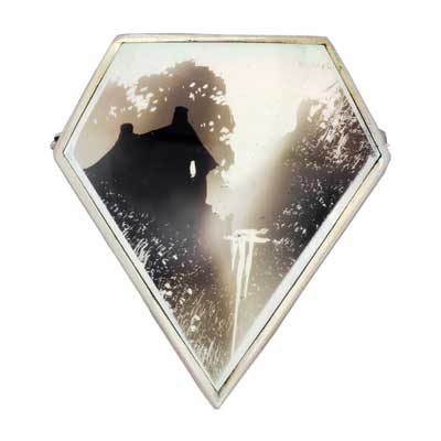 mother of pearl candle smoked brooch