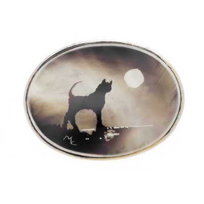 candle smoked mother of pearl silver cat brooch