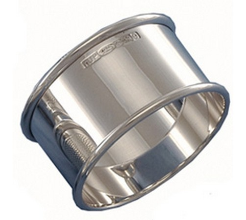 sterling hallmarked silver plain finish napkin ring