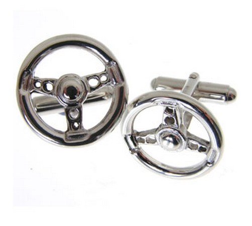 hallmarked silver steering wheel cufflinks
