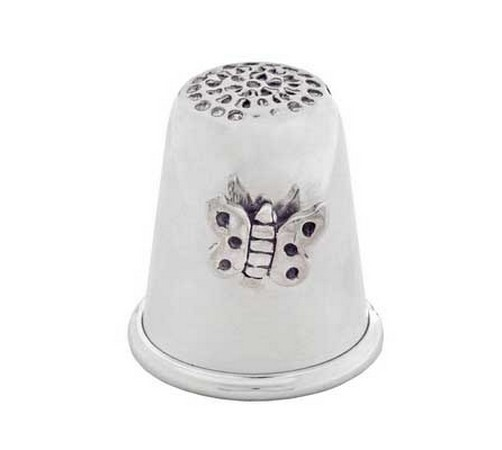 silver thimble with a butterfly theme
