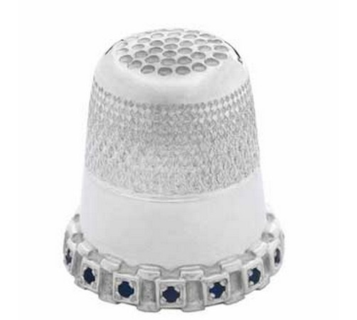 hallmarked silver thimble set with sapphires