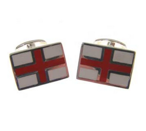 hallmarked silver st georges flag cufflinks