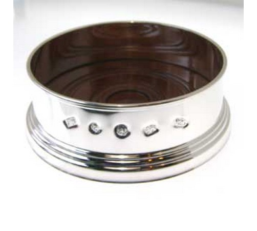 silver wine coaster with feature hallmark 90mm