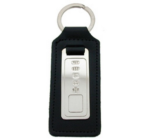 hallmarked silver and leather key fob
