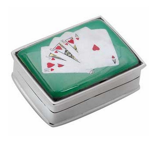 silver pill box for card players