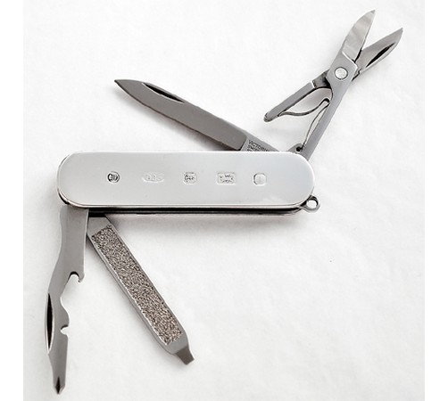 hallmarked silver pocket knife with scissors