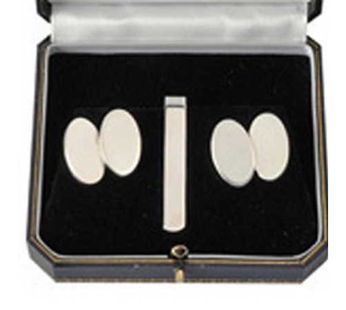 oval silver cufflinks and tie slide set