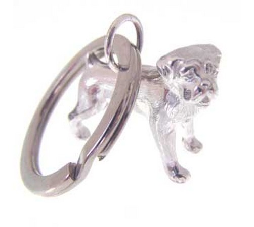 hallmarked silver boxer dog key ring