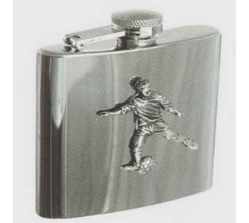 stainless steel hip flask with a football theme