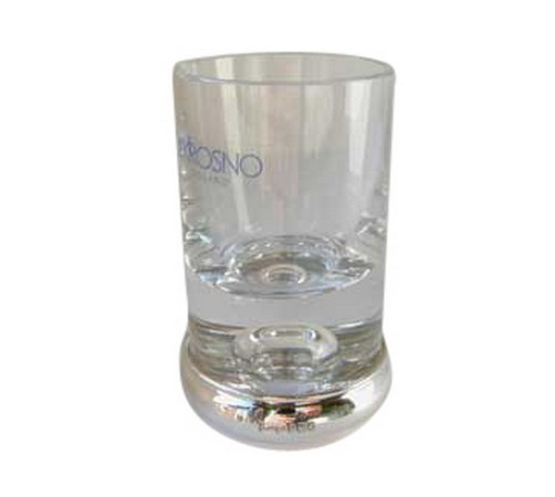 silver and glass vodka shot glasses