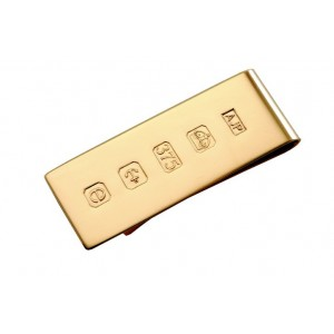 solid 9 carat gold money clip with feature hallmark 19mm wide