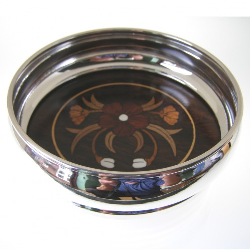 silver plated wine coaster with inlaid rosewood base 115mm diameter