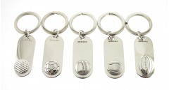 hallmarked silver sporting key rings