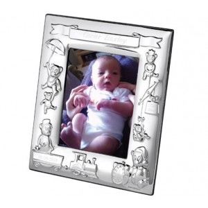 silver plated teddy bear photo frame