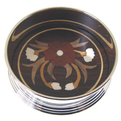 silver plated wine coaster with inlaid rosewood base 90mm diameter