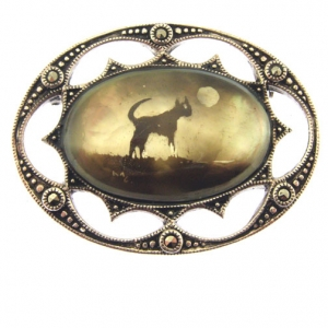 mother of pearl silver candle smoked brooch