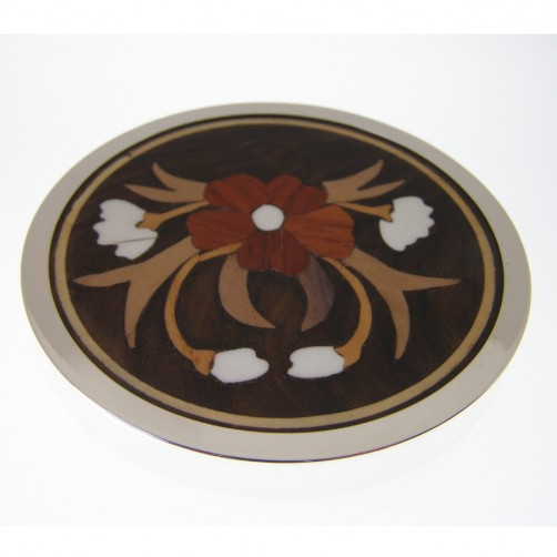 set of six silver inlaid rosewood drink mats