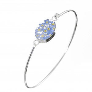 silver bangle set with real miniature forget me nots