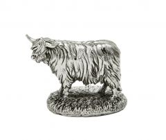 Hallmarked Silver Mini Highland Cattle Figurine