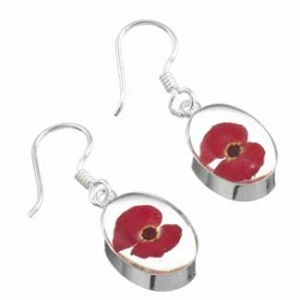 silver poppy earrings made with real flowers