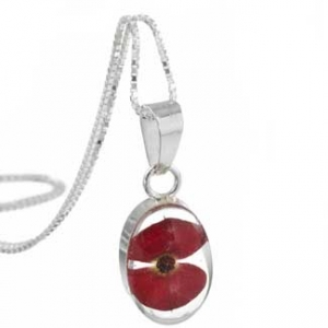 silver poppy pendant made using real flowers