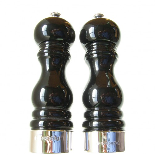 pair of gloss black silver pepper & salt grinders