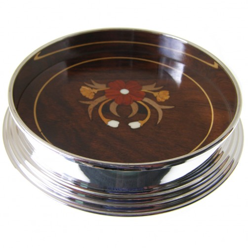 large silver plated wine coaster with inlaid rosewood base 140mm diameter