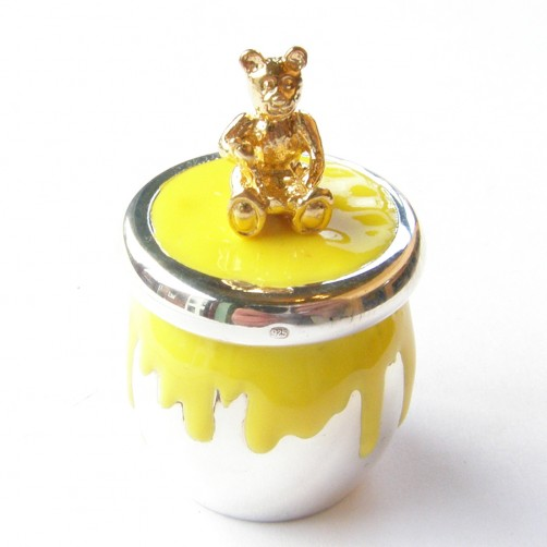 hallmarked silver enamelled teddy bear tooth box