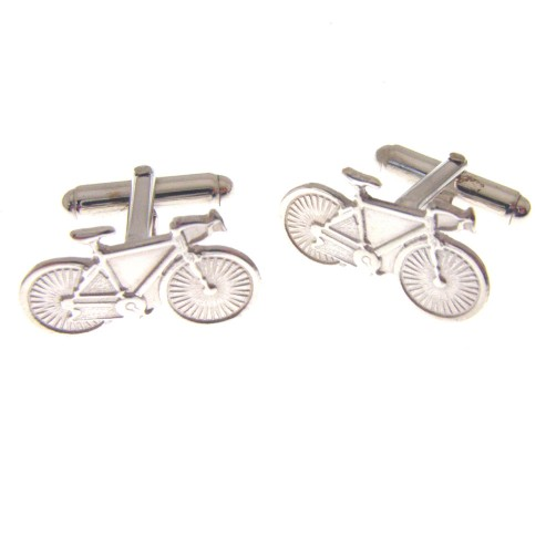 hallmarked silver racing bike cufflinks