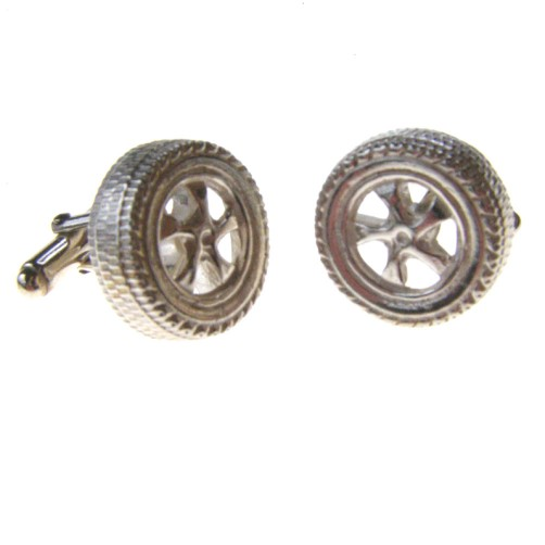hallmarked silver alloy wheel cufflinks