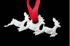 Silver Christmas Tree Decoration Santa's Reindeer
