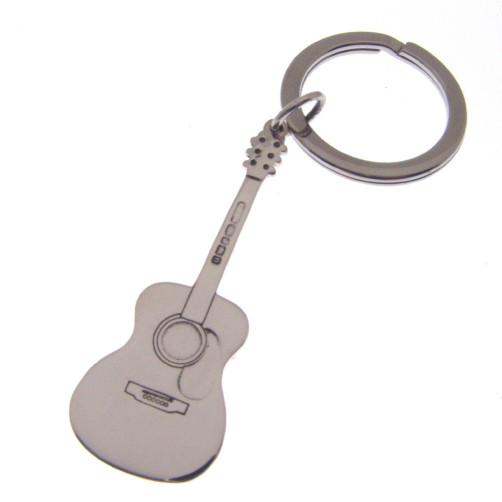 silver key ring with an acoustic guitar theme