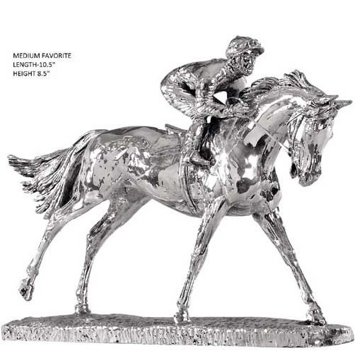 hallmarked silver model of a race horse. ascots favourite